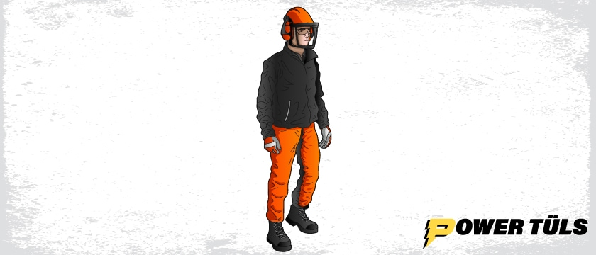 person wearing chainsaw safety equipment