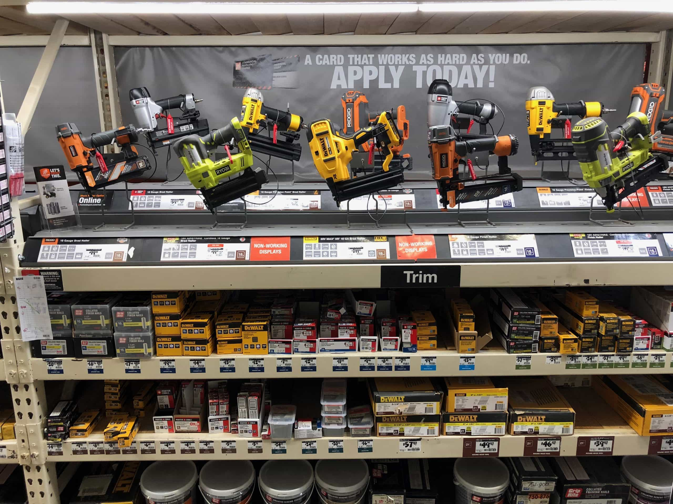 shelf full of power tools