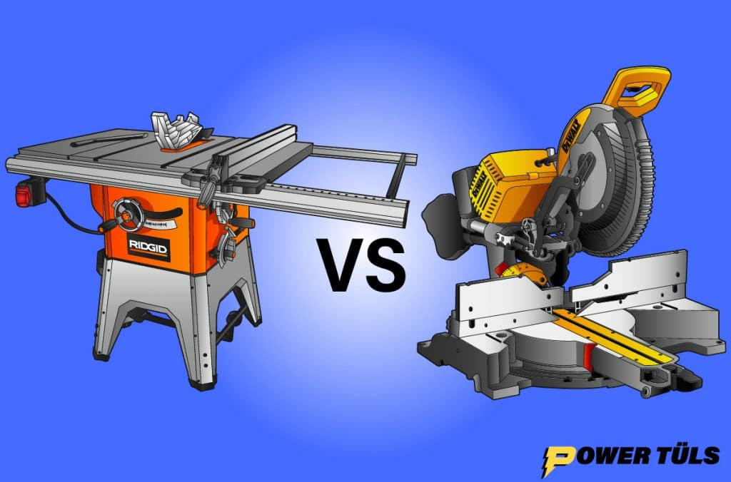 a table saw and miter saw side by side