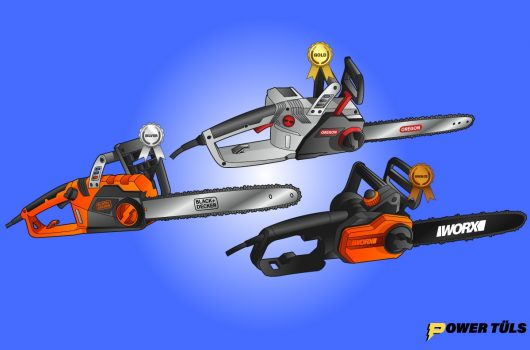 illustration of electric cordless chainsaws