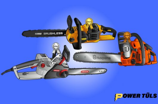 three small light weight chainsaws