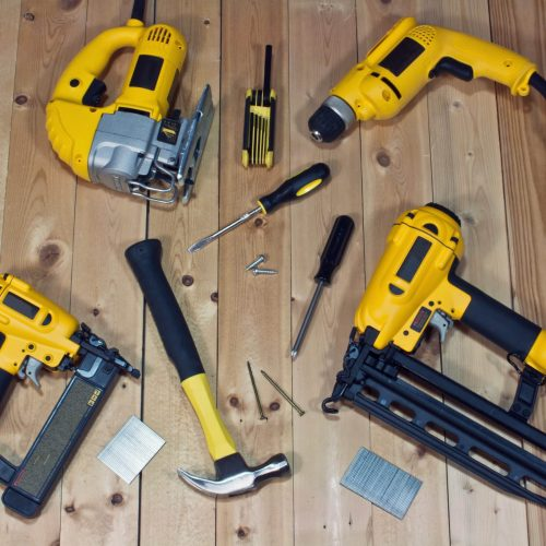 A collection of Dewalt power tools